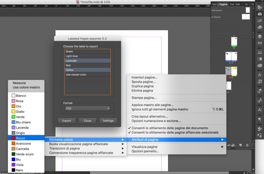 Indesign export selected page